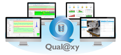 Qualaxy Suite, a MES software included SPC Vision for SPC, Check'n Go for paperless shop floor, Ctrl Vision for Reception control, Qualaxy Dashboard for KPI