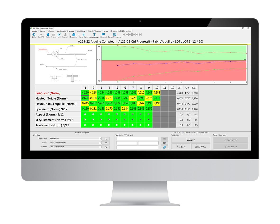 contrôle progressif avec le logiciel de contrôle réception Qualaxy Control