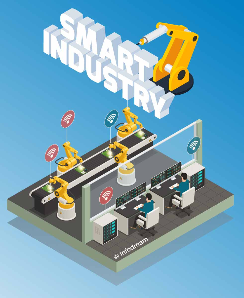 Image representing the interconnection and communication between machines, characteristic of industry 4.0
