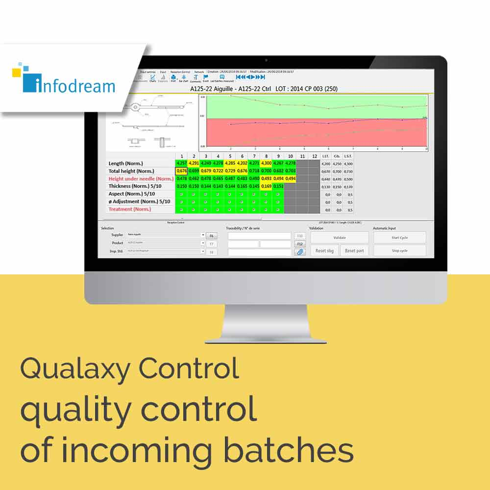 Infodream, your partner for Industry 4.0, expert in industrial process control, is the publisher and integrator of Qualaxy, the Manufacturing Execution System (MES) software suite for industrial excellence and the factory of the future. Qualaxy Control is the module of the Qualaxy Suite for incoming inspection (acceptance or rejection of supplier batches).